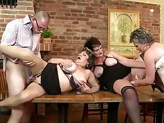 Group Sex, Granny, Mature, MILF, Old and Young