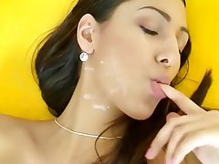 Anal, Brunette, Facial, Blowjob, Stockings